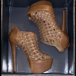 Cognac Platform Heels